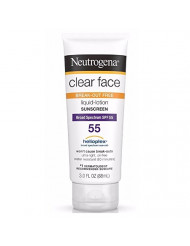 Neutrogena Clear Face Break-Out Free Liquid-Lotion Sunscreen SPF 55 3 oz (Pack of 4)