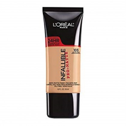 L'Oreal Paris Infallible Pro-Matte Foundation, Natural Buff [103] 1 oz (Pack of 2)