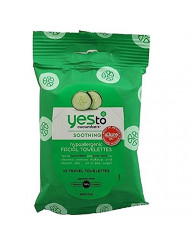Yes to Cucumbers Soothing Hypoallergenic Facial Towelettes, Travel Size 10 ea (Pack of 3)