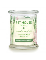 One Fur All - 100% Natural Soy Wax Candle, 20 Fragrances - Pet Odor Eliminator, Up To 60 Hours Burn Time, Non-toxic, Reusable Glass Jar Scented Candles - Pet House Candle, Bamboo Watermint