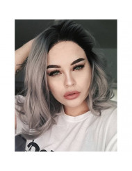 K'ryssma Ombre Gray Lace Front Wigs Dark Roots Short Bob Synthetic Wigs Silver Grey Short Wavy Synthetic Lace Wig for Women 12 inches