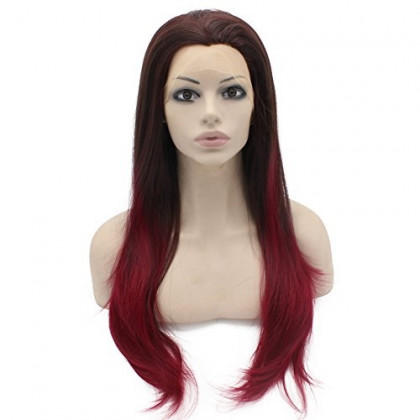 Mxangel Long Straight Half Hand Tied Brown Burgundy Red Ombre Synthetic Lace Front Wig Natural