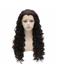 Dark Brown Curly Synthetic Lace Front Wig Natural Stylish Fiber Curly Brown Wig At Mxangel
