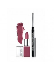 New 2016 Clinique Pop Lip Color + Primer in Plum Pop and Quickliner for Eyes Intense in Intense Black Travel Set