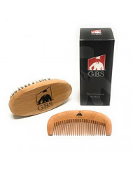 """GBS Deluxe Wooden Beard Comb & Beard Brush Set Oval Wood Handle Boar Bristles Brush 4 1/2"""" x 2 3/8"""" & Bamboo All Fine Teeth Thick Wood Comb 2"""" x 4 3/8"""" Use with Beard Oil, Balm, Wax, and Pomade"""