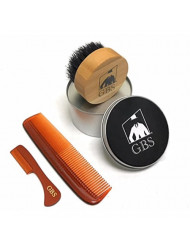 """GBS Premium Compact Wood Beard Brush with Diameter 2 1/2"""" Travel Canister, Tortoise 5"""" Coarse/Fine Pocket Comb, Tortoise Beard and Mustache Comb 3 3/8"""""""
