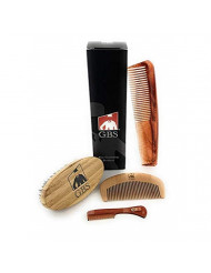 GBS Ultimate Beard and Facial Grooming Set- Wood Beard Brush with Boar Bristles, Bamboo All Fine Wood Beard Comb, Tortoise Pocket Beard Mustache and Beard Dressing Comb Works Well with Oil and Balms
