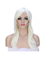 Anime Cosplay Synthetic Wig 11 Colors Japanese Kanekalon Heat Resistant Fiber Full Wig with Bangs Long Layered Curly Wavy Trendy 23'' / 58cm for Women Girls Lady Fashion and Beauty (blonde)