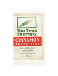 Tea Tree Therapy Toothpicks, Cinnamon - 100 Ea (Pack of 2)