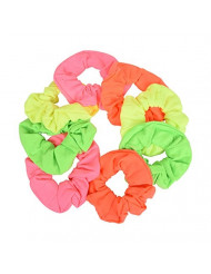 Set of 8 Neon Color Solid Scrunchies Hair Scrunchy (Pink Yellow Green Orange)