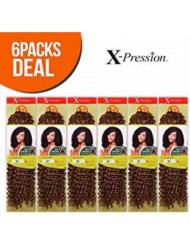 """Outre Synthetic Hair Crochet Braids X-Pression Braid 4 In 1 Loop Jerry Curl 14"""" (6-Pack, 1B)"""