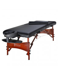 Master Massage Roma II Portable Massage Table Beauty Bed Salon, Black/Walnut Stained, 30 Inch