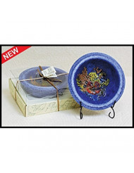 """Habersham Candle Co 7"""" Wax Pottery Bowl Indigo Amber With Stand"""