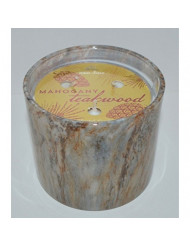 Bath and Body Works White Barn Mahogany Teakwood Scented Marble Glass 3-Wick Candle 13 Ounce