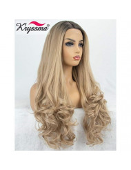 K'ryssma Ombre Blonde Synthetic Lace Front Wigs for Women Long Wavy Synthetic Wigs 2 Tone Dark Roots Blonde Wig 22 inches