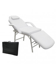 """73"""" Portable Tattoo Parlor Spa Salon Facial Bed Beauty Massage Table Chair White Thick cushioning for maximum comfort Heavy Duty Steel Frame"""