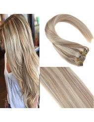 Sunny Blonde Highlighted Clip in Hair Extensions 18 inch Double Weft Real Human Hair Clip in Extensions Ash Blonde Highlights Bleach Blonde 7pcs 120g