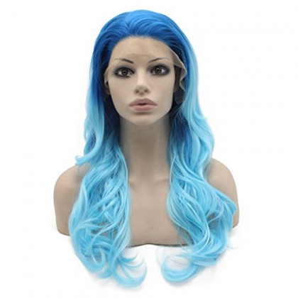 Mxangel 24inch Long Wavy Two Tone Ombre Blue Synthetic Hair Lace Front Wig