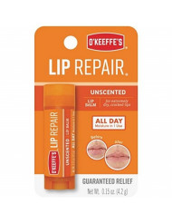 O'Keeffe's Unscented Lip Repair Lip Balm for Dry, Cracked Lips, Stick, (Pack of 6)