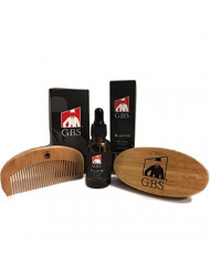 GBS Premium Beard Set - Conditioning Oil + Oval Wood Beard Brush with Boar Bristles, and Bamboo All Fine Beard Comb Styling, Shaping & Growth, Men's Gift set, Best Gift for Father's Day - Adds shine