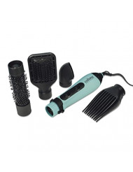 Calista StyleDryer Custom AirBrush, 4-in-1 Styling Tool, Blow Dryer and Styling Brush for All Hair Types, 4 Styling Attachments Included, Turquoise, 1.9 lb