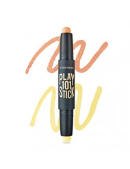 ETUDE HOUSE Play 101 Stick Color Contour Duo 1.7g2#1 Peach Orange + Yellow - Light up Color Contouring Stick, Hide Dark Circle and Dull Skin Ereas