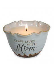 Pavilion Gift Company Plain Love Lives with Mom Single Wick Ceramic Tranquility Scented Candle