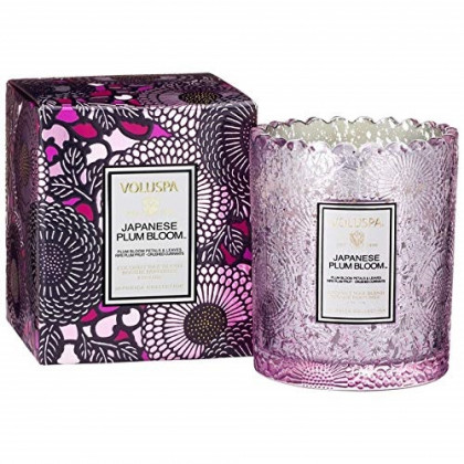 Voluspa Japanese Plum Bloom Scalloped Edge Boxed Candle, 6.2 Ounces