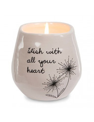 Pavilion Gift Company Plain Dandelion Wish with All Your Heart Pink Ceramic Soy Serenity Scented Candle