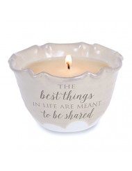Pavilion Gift Company Love Lives Here - The Best Things in Life are Meant to be Shared Single Wick Ceramic Tranquility Scented Candle