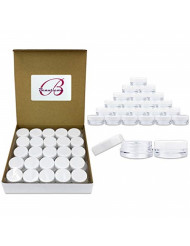 (Quantity: 50 Pcs) Beauticom 3G/3ML Round Clear Jars with White Lids for Herbs, Spices, Loose Leaf Teas, Coffee and Other Foods - BPA Free