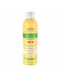 Babo Botanicals Sheer Zinc Continuous Spray Sunscreen SPF 30 with 100% Mineral Active, Non-Nano, Water-Resistant, Reef-Friendly, Fragrance-Free, Vegan, for Babies, Kids or Sensitive Skin - 6 oz.
