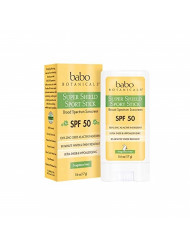 Babo Botanicals Super Shield SPF 50 Natural Sport Stick Fragrance Free Sunscreen, 0.6 Ounce, Yellow