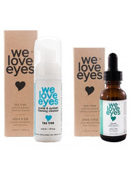 We Love Eyes- Tea Tree Eye Makeup Remover Kit - Waterproof Mascara Eyeliner - Wipe away Bacteria, Demodex, Debris - Australian Tea Tree Oil - 100% Preservative Free Oil - Vegan Foamer - 30ml