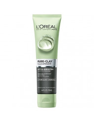 L'Oreal Paris Skincare Pure-Clay Facial Cleanser with Charcoal for Dull and Tired Skin to Detox & Brighten, 4.4 fl. oz.