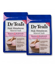 Dr Teal's Restore & Replenish Pure Epsom Salt & Essential Oils Pink Himalayan Mineral Soak 48 Oz Dr. Teal's (Pack of 2)