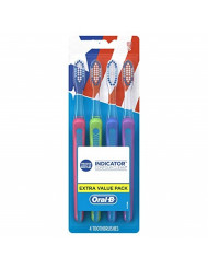 Oral-B 40 Soft Bristles Indicator Contour Clean Toothbrush (assorted colors), 4 Count