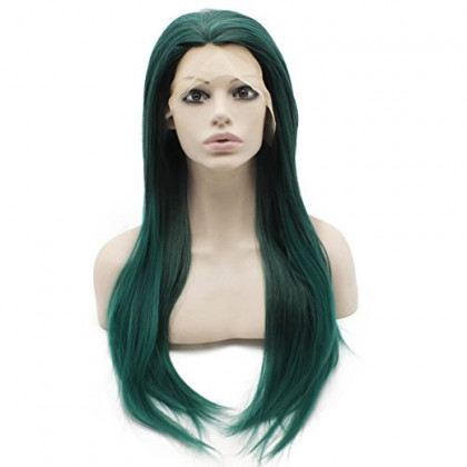 Mxangel 24inch Long Straight Hand Tied Lace Front Dark Green Cosplay Party Wig