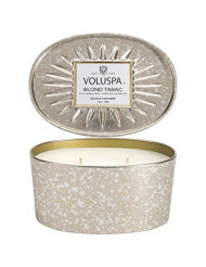 Voluspa Blond Tabac 2 Wick Candle In Decor Oval Tin 12 oz