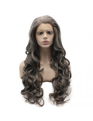 Mxangel Long Wavy Gray Heat Resistant Synthetic Lace Front Wig Natural