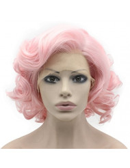 Mxangel Heat Friendly Synthetic Hair Lace Front Pink Short Curly Wig