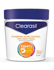 Clearasil Stubborn Acne Control 5in1 Daily Facial Cleansing Pads, 90 Count (packaging may vary) (Pack of 3)