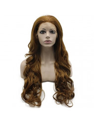 Mxangel Long Wavy Natural Heat Resistant Synthetic Lace Front Blond Wig Natural
