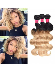 """Wome Hair Peruvian Human Hair Wefts Ombre Two Tone 1B#27 Body Wave Hair Bundles 3 Bundles Curly Ombre Blonde Hair Weaves (10"""" 12"""" 14"""")"""