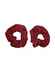 Set of 2 Large Solid Scrunchies - Burgundy