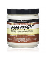 Aunt Jackie's Coconut Creme Recipes Coco Repair, Coconut Creme Deep Conditioner, Repair and Restores Damaged Hair, 15 Ounce Jar