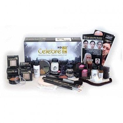 Mehron Celebre Professional HD Cream Makeup Kit |Complete Makeup Artist Beauty Set for Theatre, Stage, Movies, Special Effects, Videos, Photography|Skin, Eyes & Hair Contouring (Caucasian)