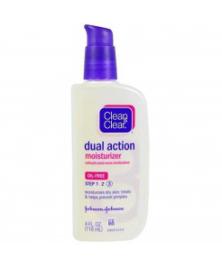 Clean & Clear, Dual Action Moisturizer, Salicylic Acid Acne Medication, 4 fl oz (118 ml) - 2PC