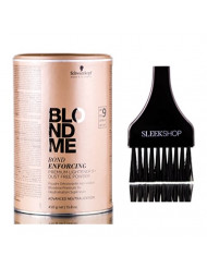 Schwarzkopf BLOND ME Bond Enforcing Premium Lightener 9+ (Dust-Free Powder, Advanced Neutralization) 15.9 oz / 450g (includes Sleek Tint Brush)