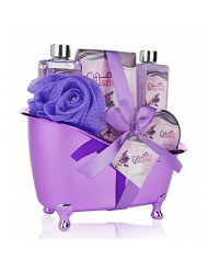 Spa Gift Basket Lavender Fragrance Cute Tub-Shaped Holder With Bath Accessories, Best Mother's Day Gift Set, Wedding, Birthday or Anniversary Gift, Includes Shower Gel, Bubble Bath, Bath Bombs & More
